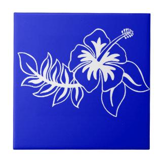 Flor hawaiana azul del hibisco azulejo cuadrado pequeño