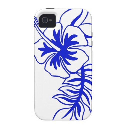 Flor hawaiana azul del hibisco iPhone 4 funda
