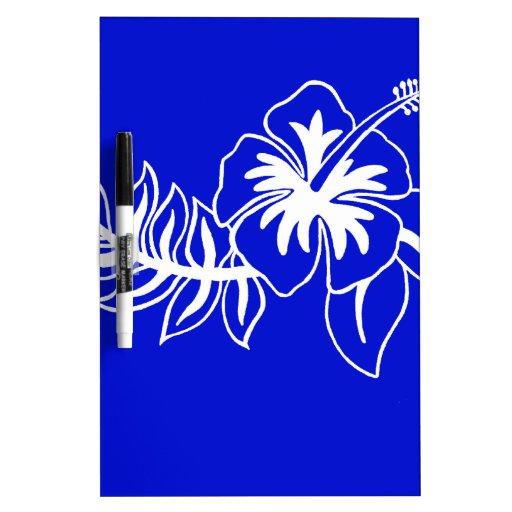 Flor hawaiana azul del hibisco tablero blanco
