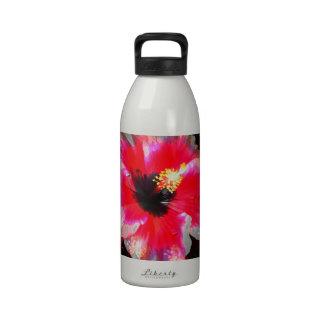 Flor hawaiana roja del hibisco botella de agua reutilizable