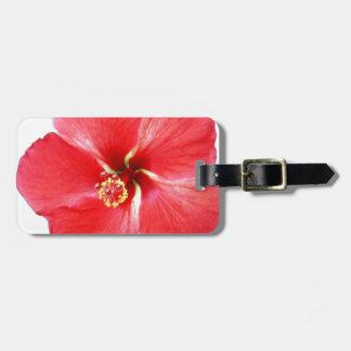 Flor hawaiana roja del hibisco etiquetas de equipaje