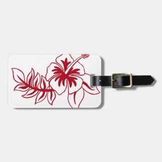 Flor hawaiana roja del hibisco etiquetas maletas