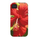 Flor hawaiana roja del hibisco vibe iPhone 4 carcasa