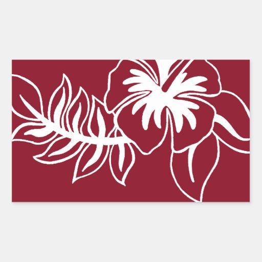 Flor hawaiana roja del hibisco rectangular pegatina