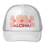 Flor hawaiana rosada gorro de camionero