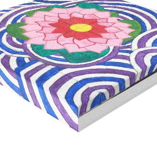 Flor hermosa con las ondulaciones del agua impresión en lienzo