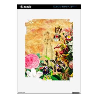 Flor hermosa de la mujer del vintage iPad 3 pegatinas skins