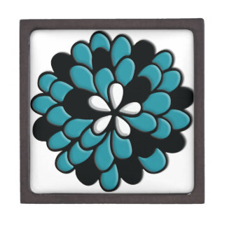 Flor hermosa de Torquoise del trullo del vitral Caja De Recuerdo De Calidad