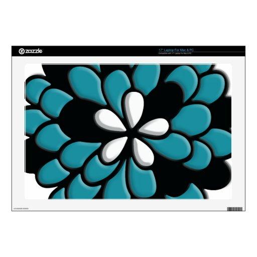 Flor hermosa de Torquoise del trullo del vitral Calcomanía Para 43,2cm Portátil