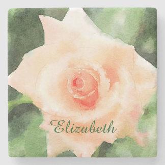 Flor híbrida del rosa de té del melocotón hermoso posavasos de piedra