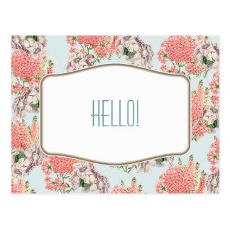 Flor, hortensias gardenias rosas detalles celeste postal