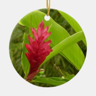 Flor I del jengibre rojo Adorno Navideño Redondo De Cerámica
