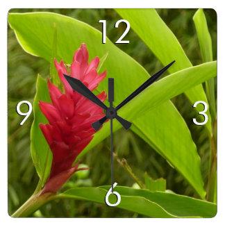 Flor I del jengibre rojo Reloj Cuadrado