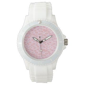 Flor inconsútil deportivo con la correa blanca del relojes de pulsera