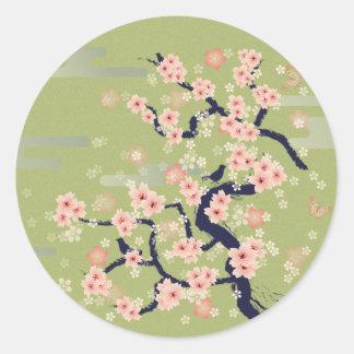Flor JAPONÉS Pegatina Redonda