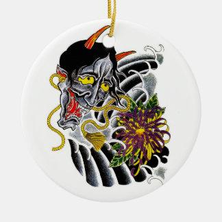 Flor japonesa del demonio del dibujo animado del s ornamento para arbol de navidad