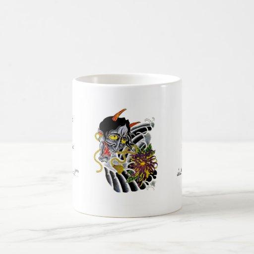 Flor japonesa del demonio del dibujo animado del s taza de café