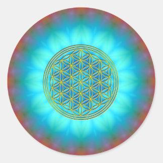 Flor la vida móvil 11 pegatina redonda