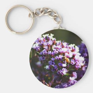 flor lavendar llavero redondo tipo pin