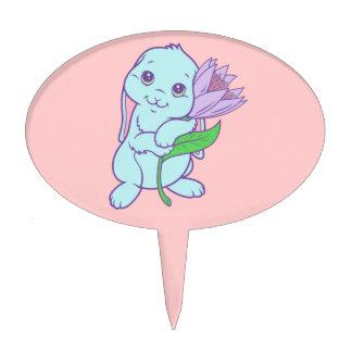 Flor linda del conejo de conejito del dibujo anima figura de tarta