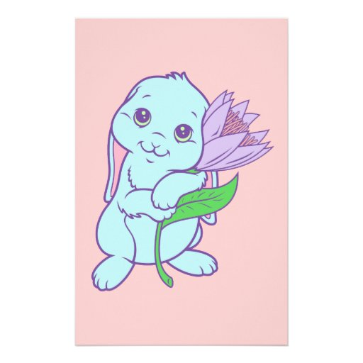 Flor linda del conejo de conejito del dibujo anima  papeleria