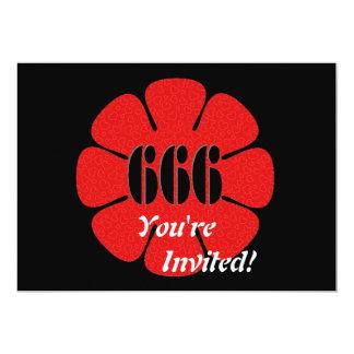 """Flor linda del rojo 666 invitación 5"""" x 7"""""""