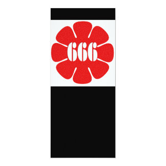 """Flor linda del rojo 666 invitación 4"""" x 9.25"""""""
