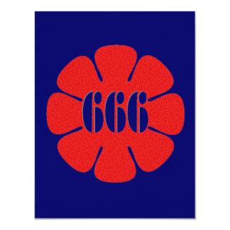 """Flor linda del rojo 666 invitación 4.25"""" x 5.5"""""""