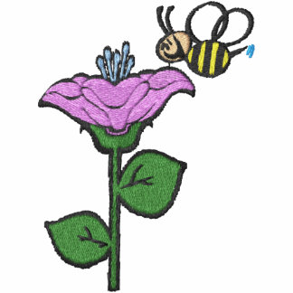 Flor linda y pecho feliz de la abeja sudadera bordada con cremallera de mujer