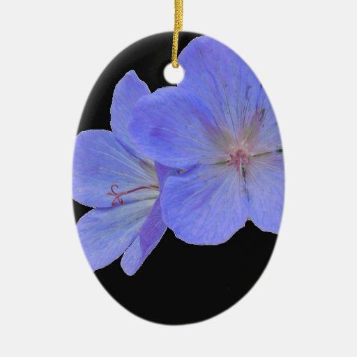 Flor macra azul adorno ovalado de cerámica