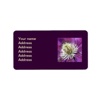Flor macra del Clematis púrpura Etiquetas De Dirección
