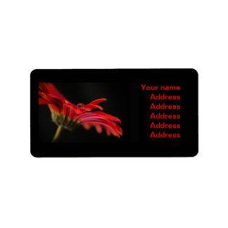 Flor macra roja del Gerbera Etiqueta De Dirección