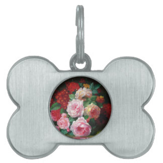 Flor magnífica del vintage placas de mascota