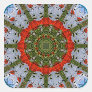 Flor-Mandala, amapolas rojas Pegatina Cuadrada