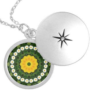 Flor-Mandala, margaritas Collar Con Colgante