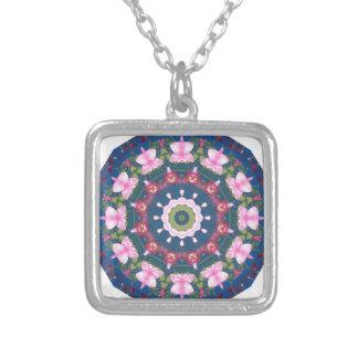 Flor-Mandala, rosa azul Colgante Cuadrado