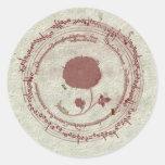 Flor medieval del manuscrito pegatina redonda