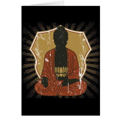 Flor Meditating de Buda Lotus Felicitación