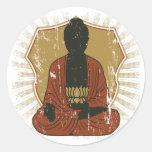 Flor Meditating de Buda Lotus Pegatina Redonda