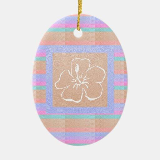 Flor metálica elegante del color n de la mirada de adorno navideño ovalado de cerámica