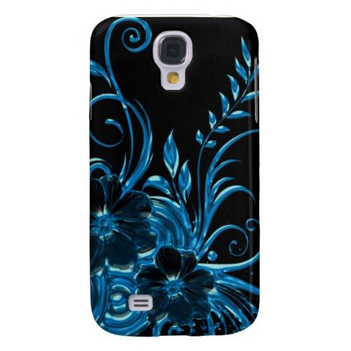 Flor metálico y remolinos de la flor en azul funda para galaxy s4