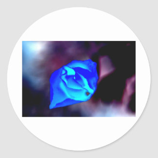 Flor mística azul pegatina redonda