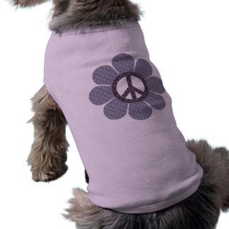 Flor modelada de la paz playera sin mangas para perro
