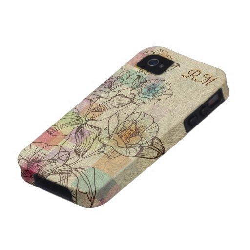 Flor-Monograma rústico dibujado mano en colores iPhone 4 Fundas