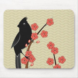 Flor Mousepad del cardenal y del ciruelo