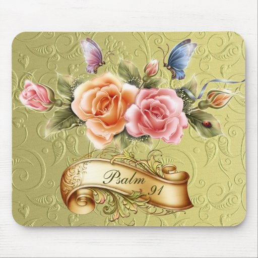 Flor Mousepad del salmo 91 Tapetes De Ratón
