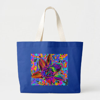 Flor multicolor bolsa tela grande