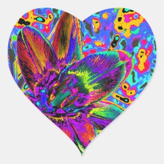 Flor multicolor calcomanías corazones personalizadas