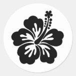 Flor negra de la hawaiana etiquetas
