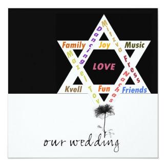 Flor negra del boda judío de la vida invitaciones personalizada